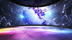 EARTH DISCO BALL in Dance Room and Monitor, Animation, Rendering, Background, 4k Stock Footage