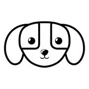 Face dog domestic mammal outline Stock Illustration