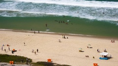 Aerial view, time lapse of people on a beach, Rio de Janeiro, Brazil Stock Footage