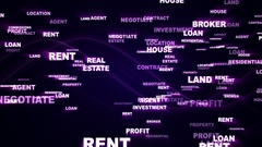 REAL ESTATE Text Animation and Earth, Rendering, Background, Loop, 4k Stock Footage