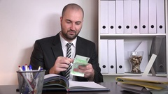 Smiling cheerful corporate sales agent businessman counting euro money happy 4K Stock Footage