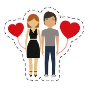 Couple together red hearts balloon Stock Illustration