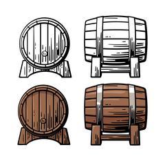 Wooden barrel front and side view engraving vector illustration Stock Illustration