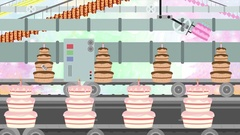 Many Birthday Cakes in a Factory Conveyor in Cartoon Style Stock Footage