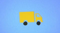 4K Stop Motion Animation Delivery Truck Driving Stock Footage