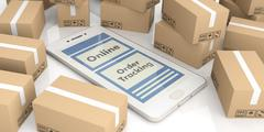 Online tracking delivery Moving Boxes smartphone white background i7 Stock Illustration