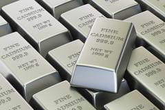 Cadmium ingots background, 3D rendering Stock Illustration