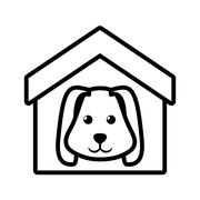 Dog animal pet ear long house pet outline Piirros