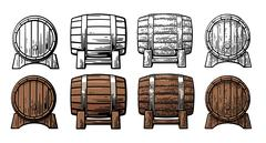 Wooden barrel front and side view engraving vector illustration Stock Illustration