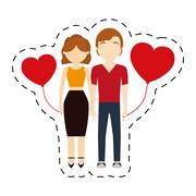 Couple affection red hearts balloon Stock Illustration