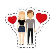 Couple romantic symbol red hearts balloon Piirros
