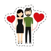 Couple fashionable modern red hearts balloon Stock Illustration