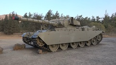 Old army tank on display at monument Six Day War Golan Heights Israel Stock Footage