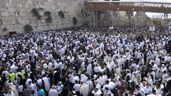 Jewish worshipers gather at the Western Wall in Jerusalem Stock Footage
