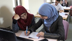 Palestinian Muslim girls study at the campus of university Ramallah Stock Footage