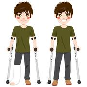 Teenager Boy crutches Stock Illustration