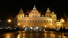 A Well Illuminated Xix Century Polish Palace With Old Cobblestone Street Stock Footage