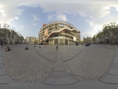 Centre Georges Pompidou is a complex building in the Beaubourg area 360 videoVR Stock Footage