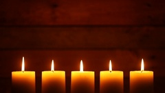 Urban Candles on Vintage Ship Wood Background Stock Footage
