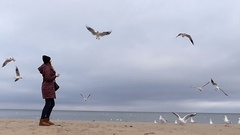 A Young Girl Throws Bread to Flying Birds With Grey-Blue Sea in the Background Stock Footage