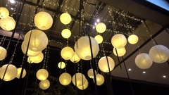 Decorative lampshades hanging Stock Footage