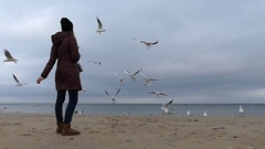 A Young Girl Throwing Bread to Flying Seagulls With Grey Blue Sea in the Stock Footage