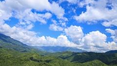 Mountain with blue sky and cloud at Khao Kho, Phetchabun, Thailand Stock Footage