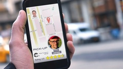 Man Uses Ride Sharing App on Phone to Call Driver Stock Footage