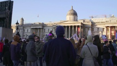 LONDON, UK. January 21, 2017. Women on the march on Trafalgar square, protest Stock Footage