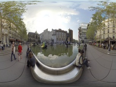 Stravinsky Fountain is a whimsical public fountain ornamented with sculptures 36 Stock Footage