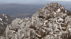 Cradle Mountain Summit Ice covered rocks Stock Footage