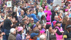 "Women's March rally, Jan 21, 2017. ""Women's power lies with all of us."" Stock Footage"