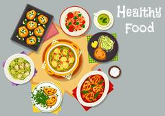 Healthy food dishes icon for lunch menu design Stock Illustration