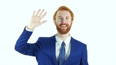 Hello Gesture by Red Hair Beard Businessman, Waving Hand Stock Footage