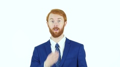 Flying Kiss by Red Hair Beard Businessman, White Background Stock Footage