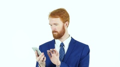 Using Smartphone, Texting Red Hair Beard Businessman Stock Footage