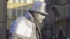 Street performer The living statue in Prague Stock Footage