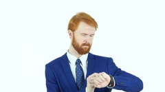 Using Smartwatch, Red Hair Beard Businessman, White Background Stock Footage