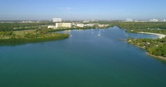 Aerial footage of Miami Biscayne Bay 4k 60p Stock Footage
