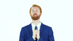 Praying Red Hair Beard Businessman, Trust in God Stock Footage