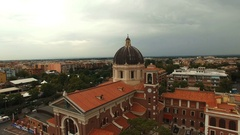Italia.Basilica a Latin cross with a central dome. Aerial drone Stock Footage