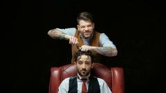 Improvised hairdresser's salon barbershop Stock Footage