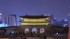 Timelapse at Gwanghwamun Gate by night, Seoul, South Korea, 4K Time lapse Stock Footage