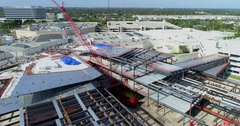 Aerial tour footage of Aventura Mall under expansion construction Stock Footage