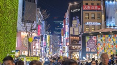 Timelapse at Myeong-dong shopping street, Seoul, South Korea, 4K time lapse Stock Footage