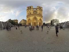 Notre Dame de Paris, France. Ancient catholic cathedral 360 video VR Stock Footage