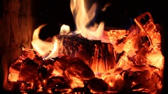Coals in the furnace hearth closeup Stock Footage