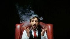 Stress with businessman and smoke in head Stock Footage