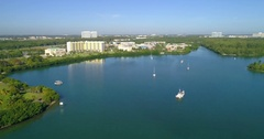 Aerial video of Biscayne Bay Miami FL Stock Footage