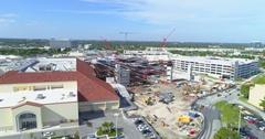 Aerial video of Aventura Mall under construction Stock Footage
